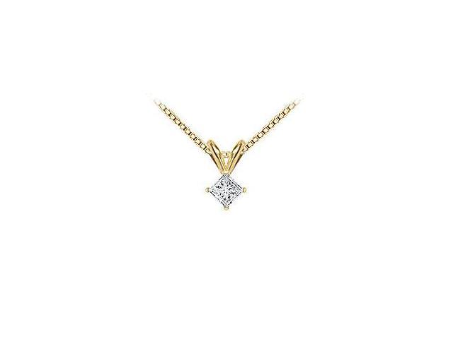 14K Yellow Gold  Princess Cut Diamond Solitaire Pendant - 0.15 CT. TW.