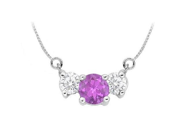 Amethyst and Cubic Zirconia Pendant  .925 Sterling Silver - 1.50 CT TGW