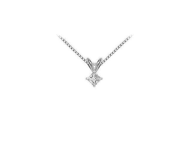 18K White Gold  Princess Cut Diamond Solitaire Pendant  0.15 CT. TDW.