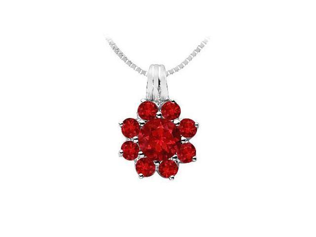 Ruby Flower Pendant  14K White Gold - 2.75 CT TGW