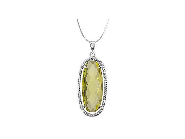 .925 Sterling Silver Rope Design Oval with 25x10 MM Genuine Lemon Quartz Pendant in 18 Inch
