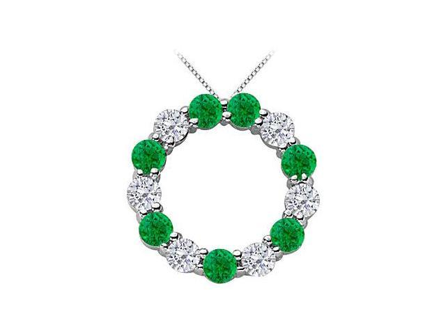 Created Green Emerald and CZ Circle Necklace in .925 Sterling Silver 2 Carat Total Gem Weight