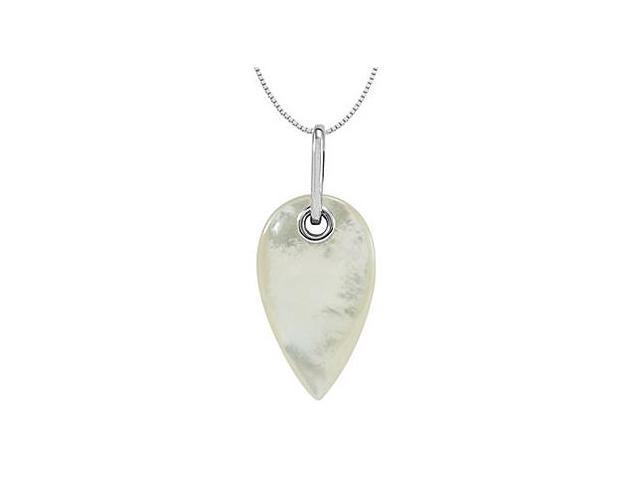 Genuine Mother of Pearl Pendant in Rhodium Plating .925 Sterling Silver 33.00X19.00 MM