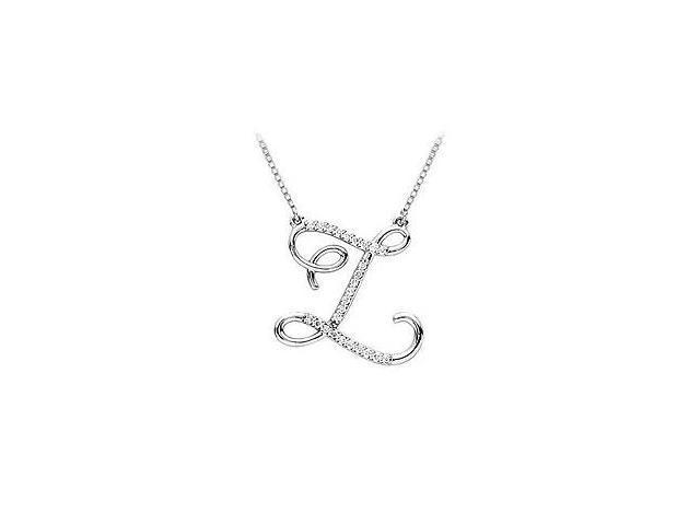 Cubic Zirconia Letter Z Script Initial Pendant  .925 Sterling Silver - 0.15 CT TGW