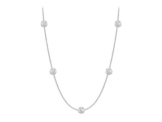 Diamonds By The Yard Necklace in 18K White Gold Bezel Set 0.33.ct.tw