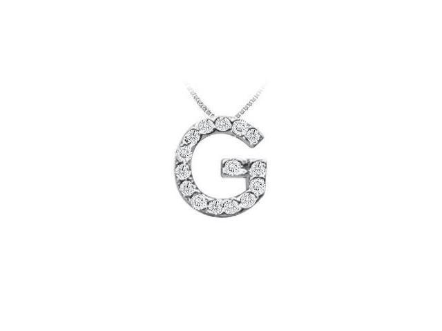 Classic G Initial Diamond Pendant  14K White Gold - 0.15 CT Diamonds