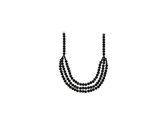 Black Onyx Multi Strand Necklace of 18 Inch with 14K White Gold Fishhook Filigree Clasp