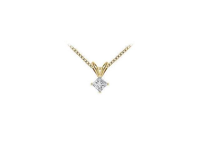 18K Yellow Gold  Princess Cut Diamond Solitaire Pendant  0.15 CT. TDW.