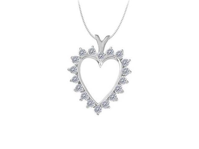 April birthstone Diamond Heart Pendant in 14K White Gold With Total 2.00 Carat Diamonds in Heart