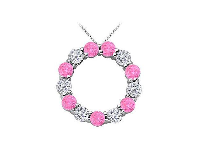 2 Carat Simulated Pink Sapphire with CZ Circle Necklace in Rhodium Treated .925 Sterling Silver