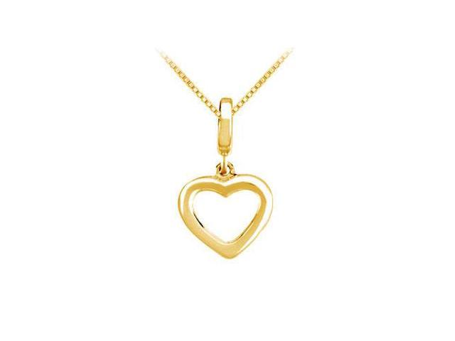 14K Yellow Gold Petite Heart Charm Pendant