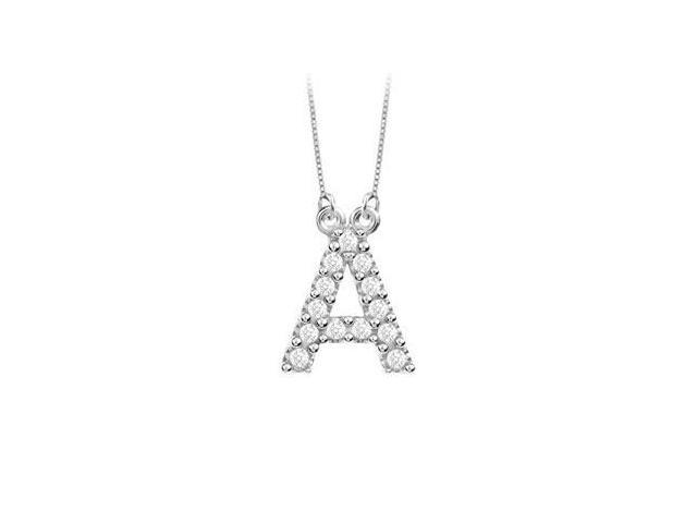 Petite Baby Charm Cubic Zirconia A Initial Pendant  .925 Sterling Silver - 0.25 CT TGW