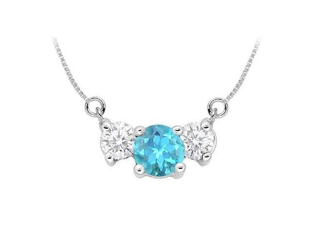Blue Topaz and Cubic Zirconia Pendant  .925 Sterling Silver - 1.50 CT TGW
