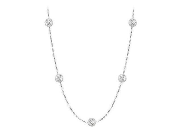 Diamonds By The Yard Necklace in 14K White Gold Bezel Set 0.50.ct.tw