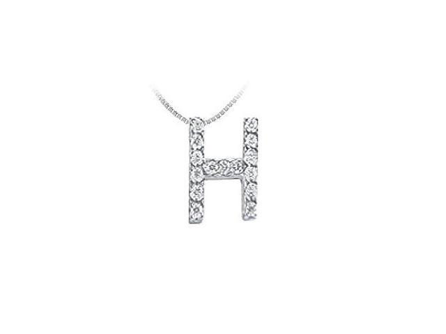 CZ Initial Sterling Silver H Pendant
