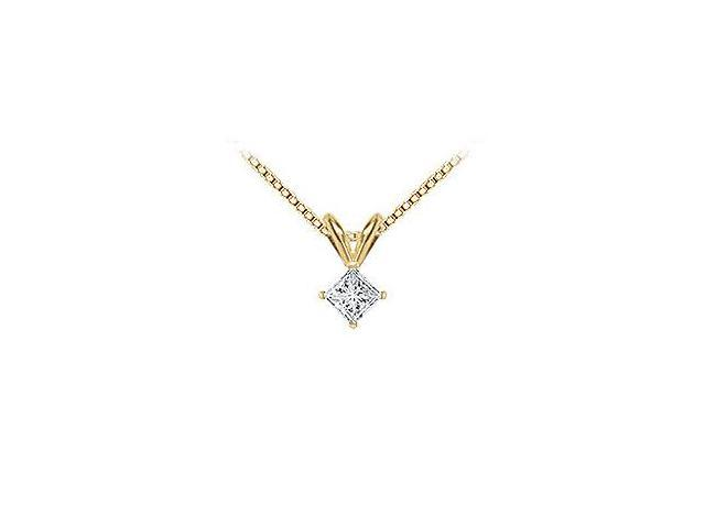 18K Yellow Gold  Princess Cut Diamond Solitaire Pendant  0.25 CT. TDW.