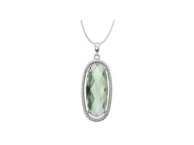 Sterling Silver Rhodium Plating Rope Design with Oval Green Quartz 18 Inch Necklace 25X10 MM