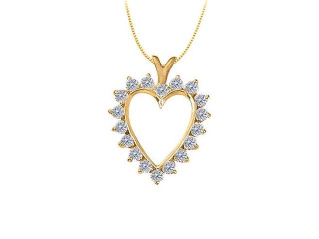 April birthstone Diamond Heart Pendant 14K Yellow Gold With 2.00 Carat Total Diamonds in Heart
