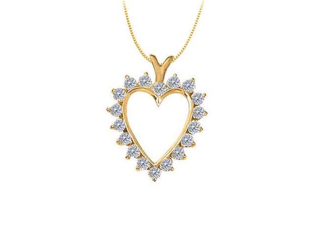 April birthstone Diamond Heart Pendant 14K Yellow Gold With 2.00 Carat Total Diamonds in Heart