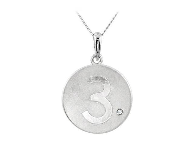 Single Diamond and Numeric 3 Engraved Disc Pendant in 14K White Gold