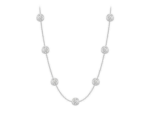 Diamonds By The Yard Necklace in 18K White Gold Bezel Set 1.50 ct.tw