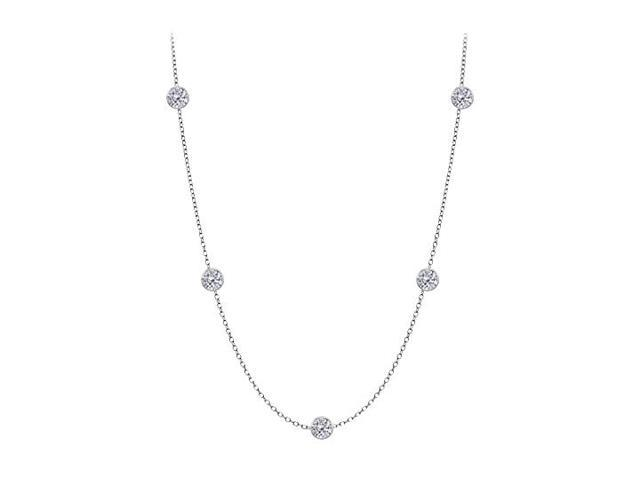 Diamonds By The Yard Necklace in 14K White Gold Bezel Set 0.75 ct.tw