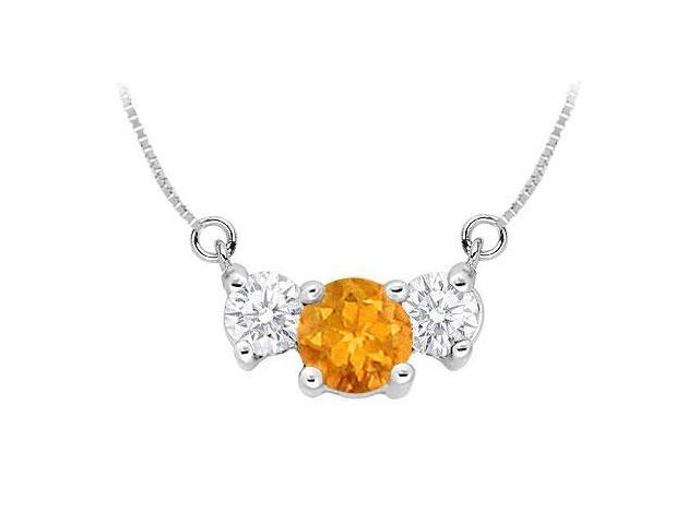 Citrine and Cubic Zirconia Pendant  .925 Sterling Silver - 1.50 CT TGW