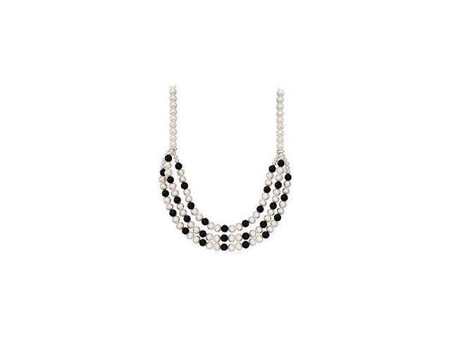 Black Onyx and Cultured Freshwater Pearl Triple Strand Necklace 18 Inch in 14K White Gold Clasp