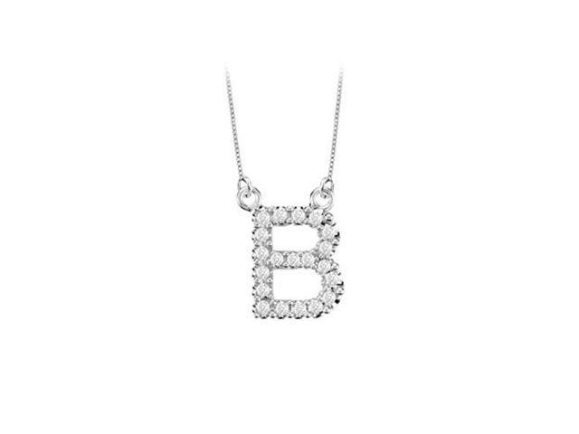 Petite Baby Charm Diamond B Initial Pendant  14K White Gold - 0.20 CT Diamonds