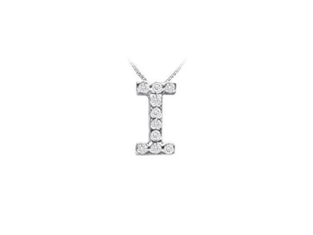 CZ Initial Sterling Silver I Pendant