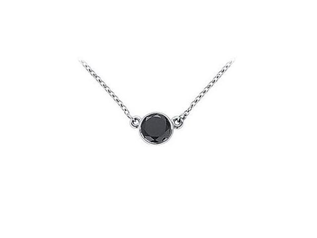 14K White Gold  Bezel Set Round Black Diamond Solitaire Pendant - 1.00 CT. TW.