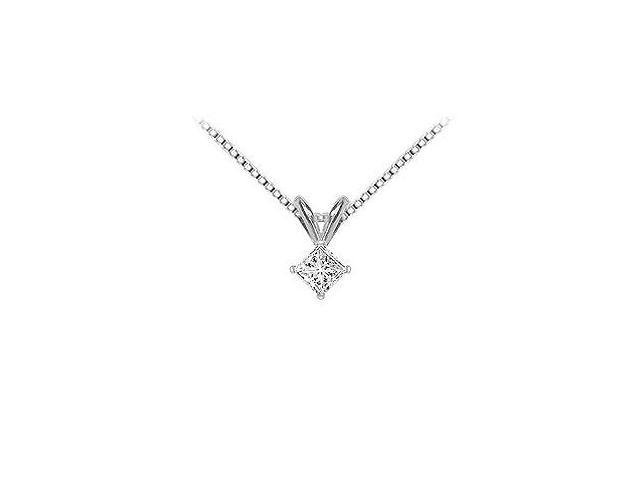 18K White Gold  Princess Cut Diamond Solitaire Pendant  0.25 CT. TDW.