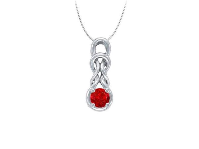 Knot pendant in Sterling Silver with July Birthstone Created Ruby 1.00 CT TGW