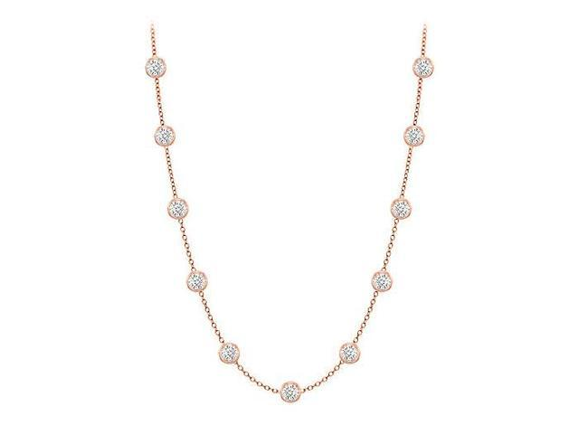 Diamonds By The Yard Necklace in 14K Rose Gold Bezel Set 0.33.ct.tw