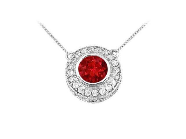 Ruby and Diamond Pendant  14K White Gold - 0.66 CT TGW