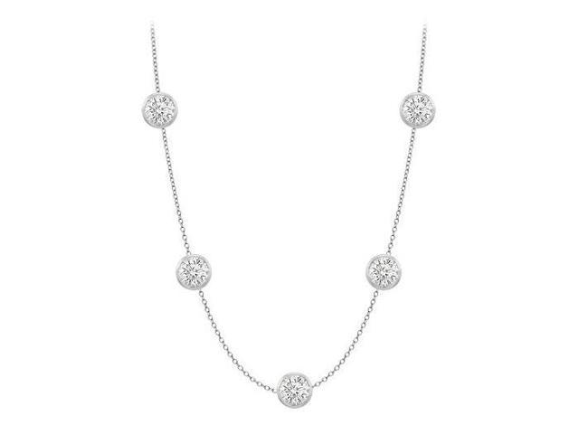Diamonds By The Yard Necklace in 18K White Gold Bezel Set 1 ct.tw