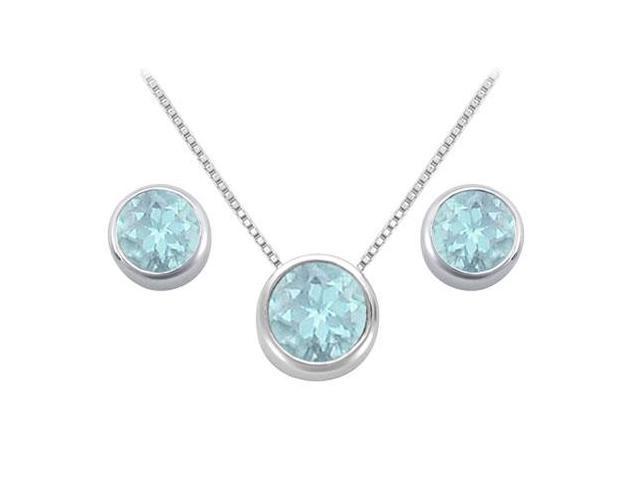 Created Aquamarine Solitaire Stud Earrings and Pendant in 14kt White Gold 3.00.ct.tgw