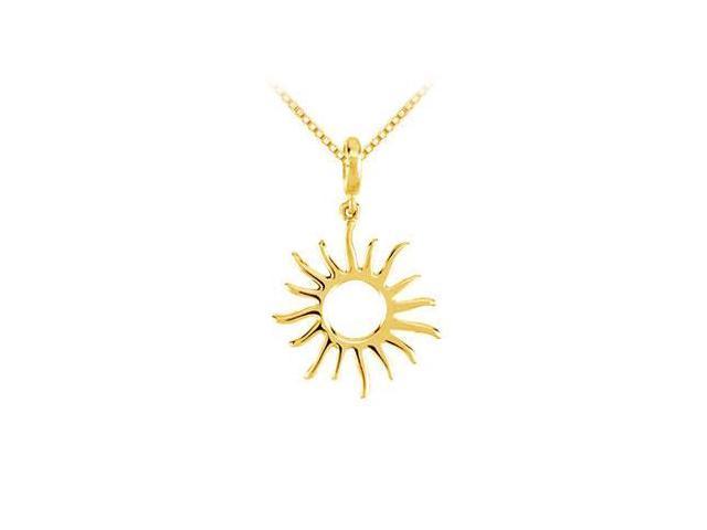 14K Yellow Gold Petite Sun Charm Pendant