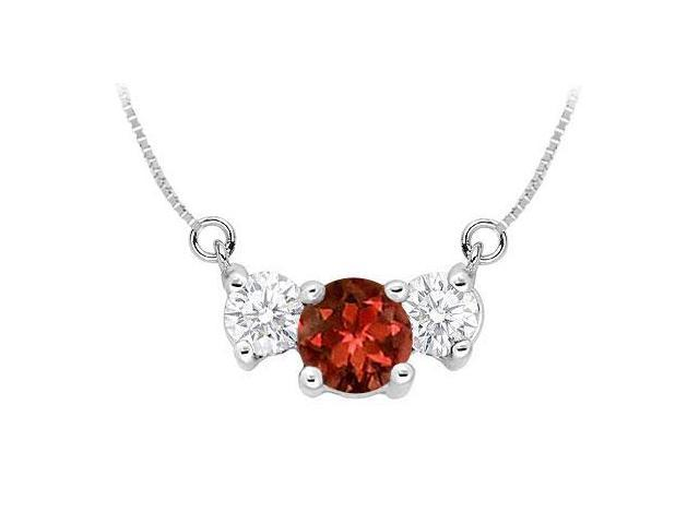 Garnet and Cubic Zirconia Pendant  .925 Sterling Silver - 1.50 CT TGW