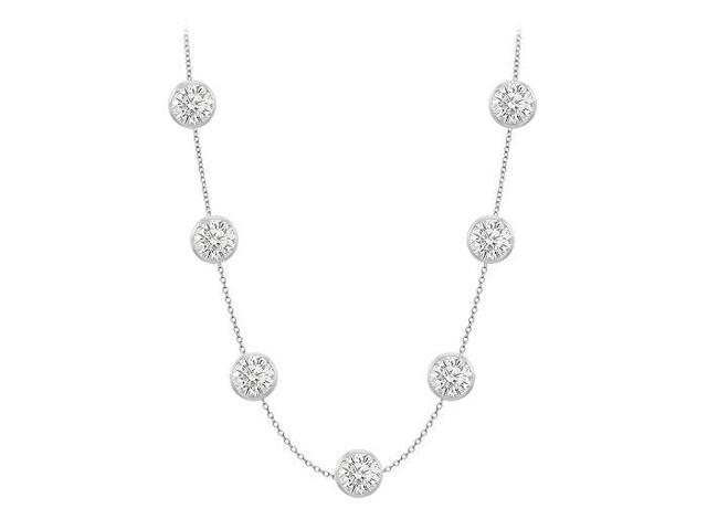 Diamond by the yard necklace in 14K white gold Seven Stone Cubic Zirconia with 2 Carat TGW