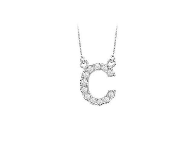 Petite Baby Charm Cubic Zirconia C Initial Pendant  .925 Sterling Silver - 0.25 CT TGW