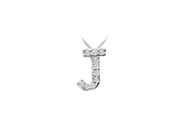 Classic J Initial Diamond Pendant  14K White Gold - 0.10 CT Diamonds