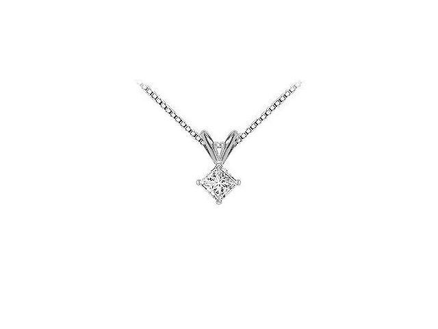 18K White Gold  Princess Cut Diamond Solitaire Pendant  0.33 CT. TDW.