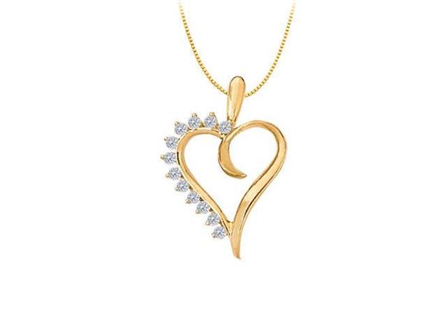 April birthstone Diamond Heart Pendant in 14K Yellow Gold 0.25 CT TDW