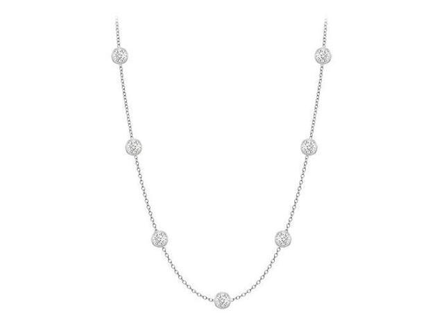Diamonds By The Yard Necklace in 14K White Gold Bezel Set 0.25 ct.tw