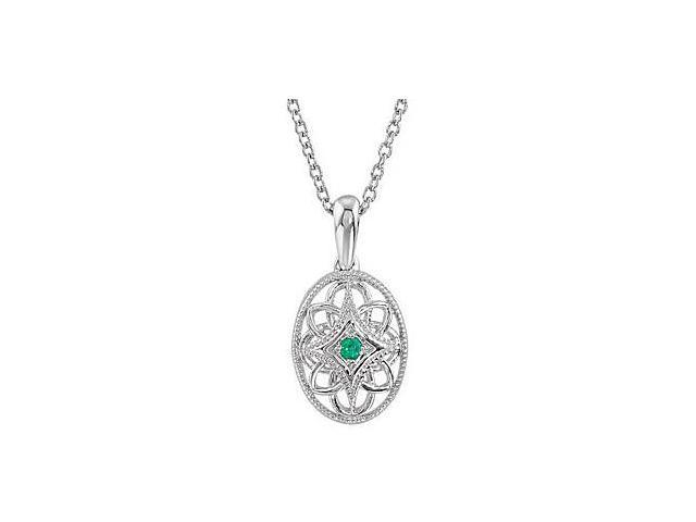 Rhodium Plating .925 Sterling Silver Genuine Emerald Necklace 18 Inch Chain with 0.03 Carat TGW