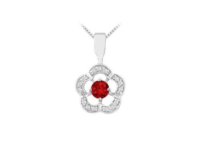 Ruby and Diamond Flower Pendant  14K White Gold - 0.50 CT TGW