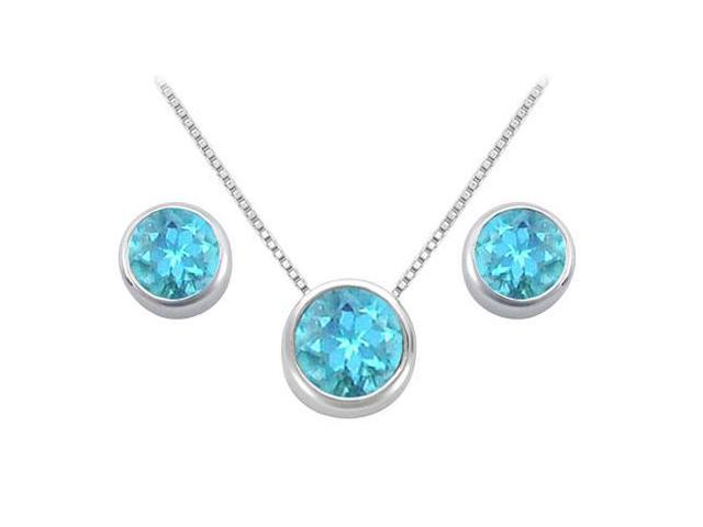 Created Blue Topaz Solitaire Stud Earrings and Pendant in 14kt White Gold 3.00.ct.tgw