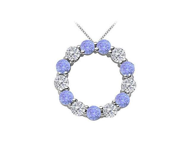 2 Carat CZ and Simulated Tanzanite Eternity Circle Necklace in Rhodium Treated .925 Sterling Sil