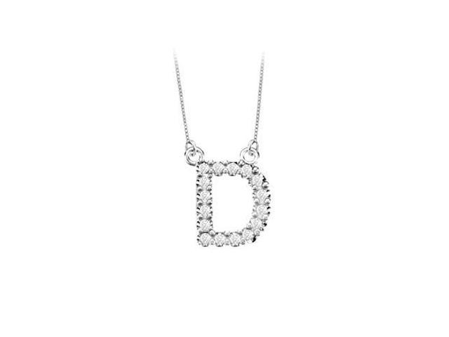 Petite Baby Charm Diamond D Initial Pendant  14K White Gold - 0.20 CT Diamonds